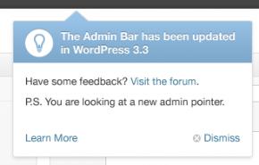 WordPress 3.3: recurso de ponteiro no novo layout