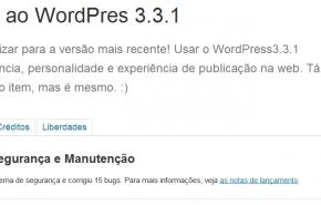 WordPress 3.3.1, atualização de segurança