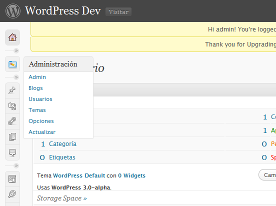 Multblog WordPress 3.0