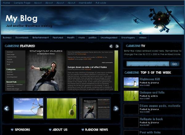 Gamezine - 8 Temas gratuitos para portais de jogos