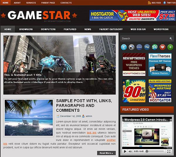 game star - 8 Temas gratuitos para portais de jogos