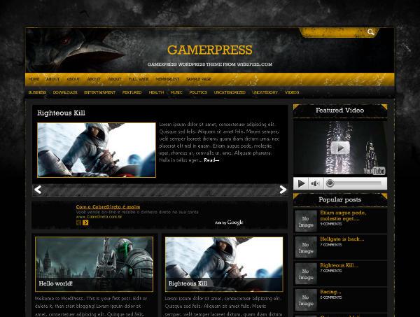 gamerpress web2feel - 8 Temas gratuitos para portais de jogos