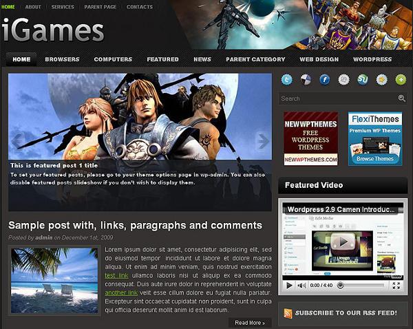 igames - 8 Temas gratuitos para portais de jogos