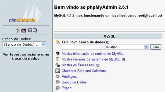 Página inicial do PHPMyAdmin
