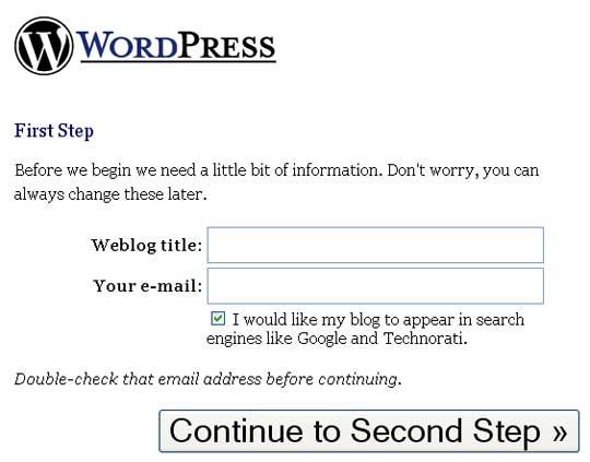 wordpress firststep - Como instalar o WordPress no seu computador