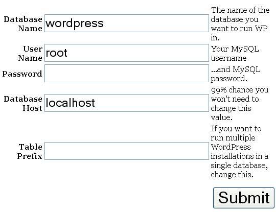 Formulário de instalação do WordPress