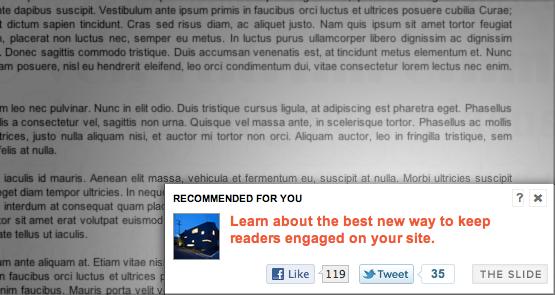 SimpleReach Slide, plugin WordPress para recomendar conteúdo