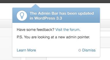 wordpress33 feature pointer - WordPress 3.3: recurso de ponteiro no novo layout